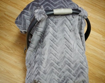 Grey Chevron, car seat canopy tent
