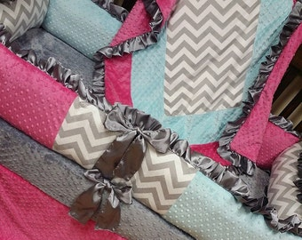 Grey Chevron, Aqua, Hot Pink,  Crib Set. You design. Several Colors Available.