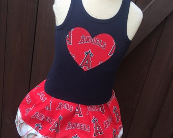 Baseball Dress. Made with MLB Angels fabric