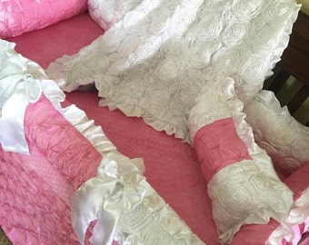 Pink Pin-tuck satin, Rosette Crib Set.