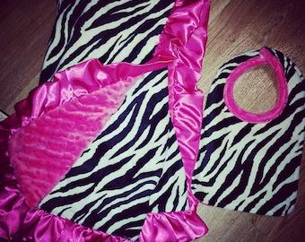Zebra, Hot Pink, Minky Baby Blanket, Gift Set