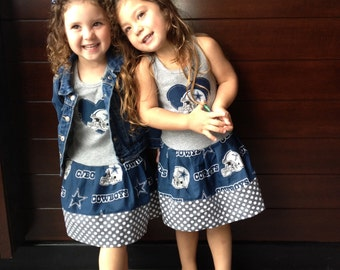Dallas Cowboys dress. Cowboys girl. Girls dress. Cowboys dress. Football dress. Cheerleader dress.