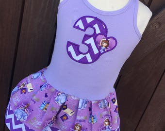 Girls Custom Dress. Made with Sofia the first fabric