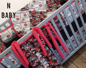 USMC baby bedding. USMC crib bedding. Military baby. USMC nursery. Custom baby bedding. Crib bedding.