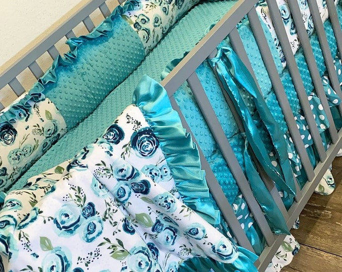 Featured listing image: Teal floral baby bedding. Baby girl crib bedding. Floral crib bedding. Teal floral crib set. Floral baby bedding
