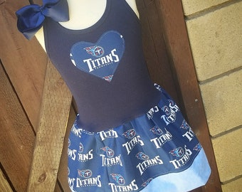 Football Dress. Cheer dress. Titans Dress. Custom kids clothing. Sports Dress