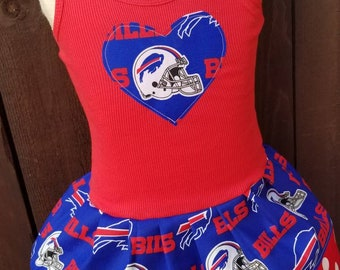 Girls dress. Bill's dress. Football dress. Buffalo Bills Fabric.