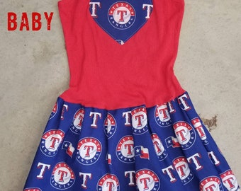 Baseball Dress. Girls Dress. Texas Rangers Inspired.