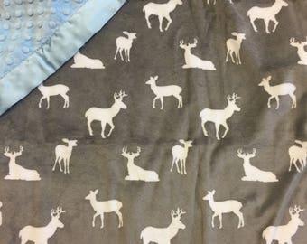 Deer, Buck, minky, baby blanket.