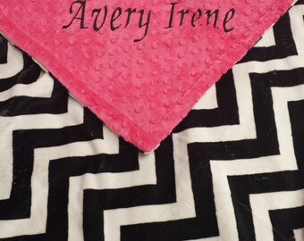 Black Chevron Minky Baby Blanket. You choose color backing.