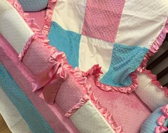 Aqua, Pink,  Crib Set.