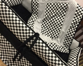 Baby Boy Crib Bedding. Checker Baby Bedding. Checkered Flag Crib Bedding. Off Road Nursery. Dirt Bike Nursery. Checkered Nursery