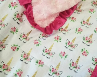 Unicorn blanket. Minky blanket.  Baby girl blanket. Baby shower gift.