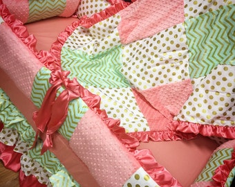 Coral Mint Baby Bedding. Baby Girl Crib Bedding. Coral crib bedding. Mint crib bedding. Coral. Mint. Gold. Custom baby bedding