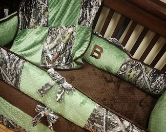 True Timber, Camo, Olive, Crib Set. You design. Several Colors Available.