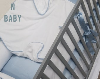 White, Blue, Minky, Baby Bedding