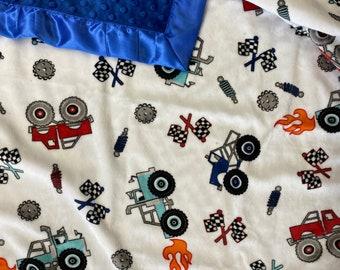 Minky blanket. Monster truck blanket. Baby boy blanket.