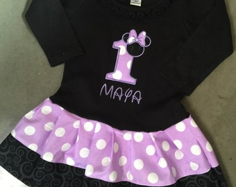 Minnie Mouse Dress. Lavender, Black. Personalized. LONG SLEEVE