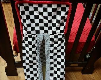 Checkered Flag, Diaper Stacker. You choose fabrics.