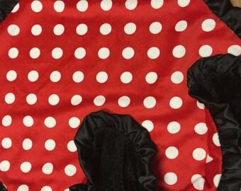Red, Polka Dot, baby blanket. Minky