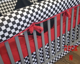 Baby Boy Crib Bedding. Checker Baby Bedding. Checkered Flag Crib Bedding. Checkered Nursery, CRIB SKIRT ONLY