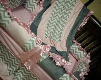 Grey Chevron, Baby Pink, Grey, Crib Set. You design. Several Colors Available.
