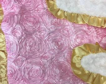 Satin Rosette Baby Blanket. Baby Pink. Gold