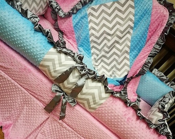 Grey Chevron, Aqua, Pink,  Crib Set. You design. Several Colors Available.