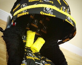 Pittsburgh Steelers, Infant Car Seat Replacement Cover. You choose colors. All NFL teams available