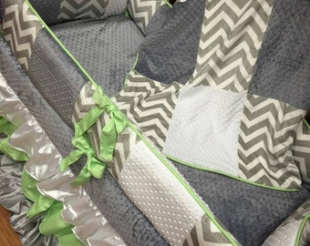 Grey Chevron, Crib Set. Soft Lime. You design. Several Colors Available.