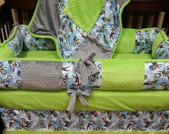 Baby Boy Baby Bedding. Dirt Bike Baby Bedding. Motocross Baby Bedding. Off Road Baby Bedding. Crib Bedding