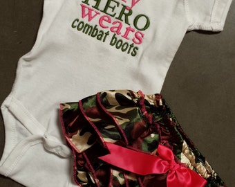 My Hero Wears Combat Boots, infant onesie