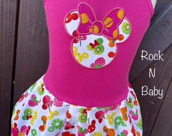 Minnie Mouse Dress. Minnie Mouse birthday dress. Girls dress. Minnie Fruit fabric.