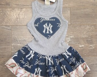 Baseball Dress. Team Dress. Made with New York Yankees fabric.