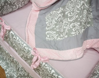 Damask, Crib Set. Pink, Grey. Several Colors Available.