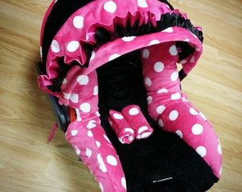 Pink Polka Dot, Infant Car Seat Replacement Cover. You choose colors.