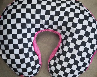 Nursing Pillow Cover. Fits Boppy Pillow. Checkered with your choice of minky on bottom