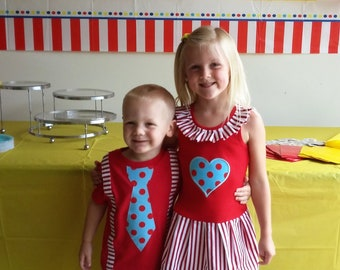 Circus Sibling Set. Carnival dress, Carnival shirt. Includes dress and Shirt.