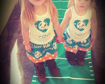 Girls Dress. Created with Miami Dolphins Fabric.