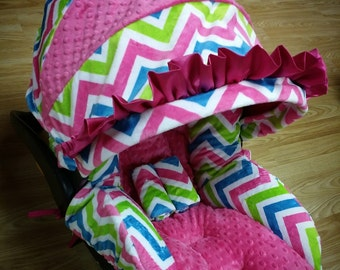 Pink, Lime, Turquoise, Chevron, Minky, Infant Car Seat Replacement Cover. You choose colors.