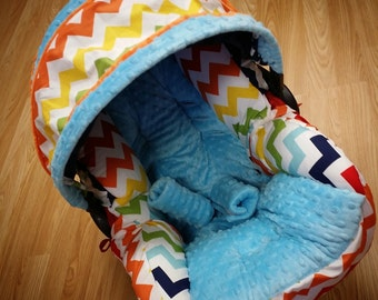 Rainbow Chevron, Minky, Infant Car Seat Replacement Cover. You choose colors.