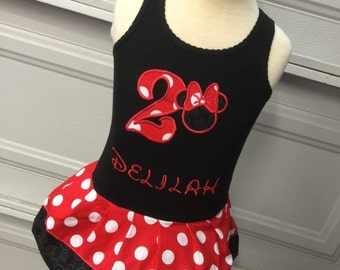 Minnie Mouse Dress. Red, Black.