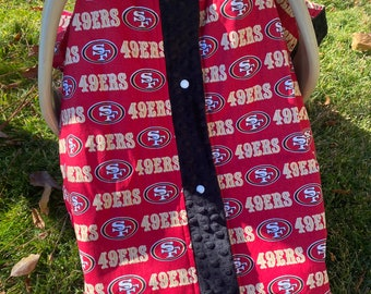 San Francisco 49ers car seat canopy tent. 49ers canopy tent. 49ers car seat cover.