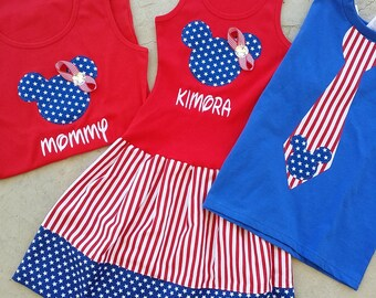 Patriotic, Minnie Mouse. Mickey Mouse. Family Set