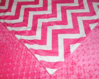 Fuschia Chevron, Minky Baby Blanket. You choose color backing. You choose size.