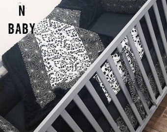 Jack Skellington Crib Set. Jack Skellington nursery. Baby boy crib bedding. Baby girl crib bedding. Custom crib bedding.