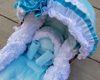 Satin Rosette, Infant Car Seat Replacement Cover. You choose colors.