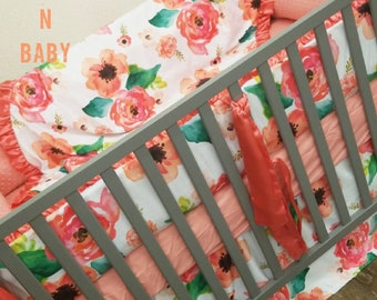 Coral, Floral, Baby Bedding