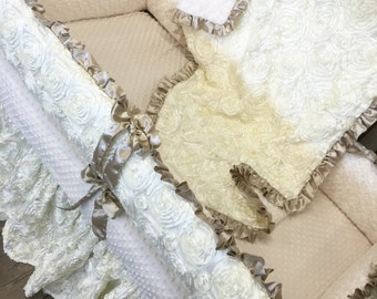 Ivory, Satin, Rosette Crib Set. Gold