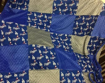 Minky Throw Blanket. Dodgers Blanket. Dodgers Throw Blanket. Dodgers Gift. Any Team Available.